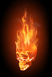 Skull in flames. Realistic illustration of a flaming skull on black background Stock Image