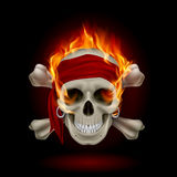 Skull in Flames. Pirate Skull in Flames. Illustration on black Royalty Free Stock Images