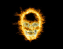 Skull in flames. On black background Royalty Free Stock Photography