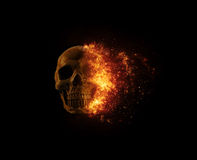 Skull flames Fire effect Royalty Free Stock Photography