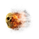 Skull flames Fire effect on white background.  Stock Photo