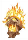 Skull in flames isolated. Screaming skull in flames isolated Royalty Free Stock Photo