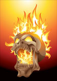 Skull in flames. Screaming skull in flames illustration Royalty Free Stock Photography
