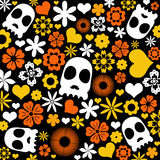 Skull and flora pattern background. Stock Photo