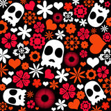 Skull and flora pattern background. Halloween concept Royalty Free Stock Photography