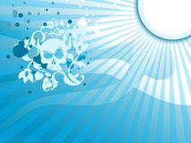 Skull Floral background. Skull sun blue floral ice background with abstract rays Stock Image