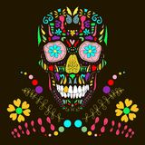 Skull with floral ornament 1.Vector illustration. Stock Images