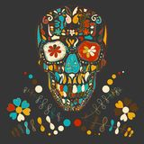 Skull with floral ornament .Vector illustration. Stock Image