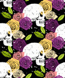 Skull floral seamless background Stock Photos