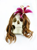 Skull with flower in hair Stock Photo