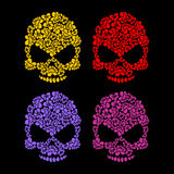 Skull flower petals. Floral colorful skull. Royalty Free Stock Photos