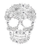 Skull from flowers. Cute skull ornament Stock Image