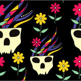 Skull with Flowers Background. Seamless texture Stock Photos