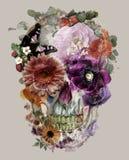 The skull of flowers stock illustration