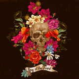 Skull and Flowers Day of The Dead Royalty Free Stock Images