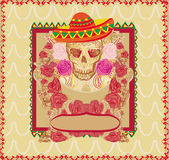 Skull and Flowers Day of The Dead Royalty Free Stock Photo