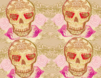 Skull and Flowers Day of The Dead Seamless Background Stock Image