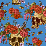 Skull and Flowers Day of The Dead Seamless Pattern Stock Image