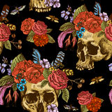 Skull and Flowers Day of The Dead Seamless Pattern Stock Photo