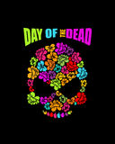 Skull of flowers for Day of the Dead. Skeleton head for national. Holiday in Mexico. Floral corpse Stock Photo