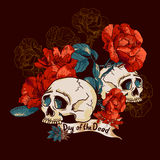 Skull and Flowers Day of The Dead Royalty Free Stock Photography