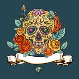 Skull and Flowers Day of The Dead. Vintage Card, Vector illustration Royalty Free Stock Photo