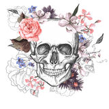 Skull and Flowers Day of The Dead Royalty Free Stock Image