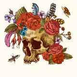 Skull and Flowers Day of The Dead Royalty Free Stock Photos