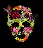 Skull with flowers and feathers for Halloween. Watercolor Royalty Free Stock Images