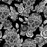 Skull and Flowers Monochrome Seamless Background Stock Image
