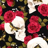 Skull with flowers and a moth. Human skull with red roses and a moth vector seamless background Stock Images