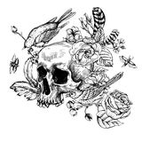 Skull with Flowers, Roses, Birds and Feathers Stock Images