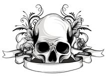 Skull with flowers, with roses. Drawing by hand. . Illustration vector illustration