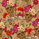 Skull and Flowers Seamless Background Stock Image