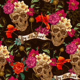Skull and Flowers Seamless Background Stock Photo