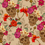 Skull and Flowers Seamless Background Stock Images