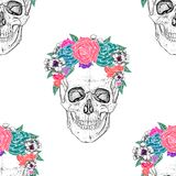 Skull and flowers. Stock Photo