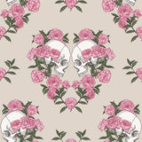 Skull and flowers. Seamless pattern Stock Images