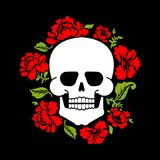 Skull and flowers. Skeleton head and roses. Death and love.  vector illustration