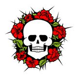 Skull and flowers. Skeleton head and roses. Death and love.  stock illustration