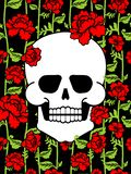 Skull and flowers. Skeleton head and roses. Death and love.  royalty free illustration