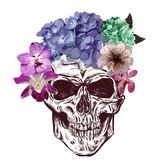 Skull And Flowers. Sketch With gradation Effect. Vector Stock Image