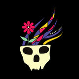 Skull with Flowers. In a tattoo style Royalty Free Stock Photography