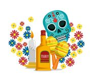 Skull with flowers and tequila to celebrate event. Vector illustration vector illustration
