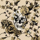 Skull in flowers Stock Photography