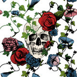 Skull in flowers Royalty Free Stock Images