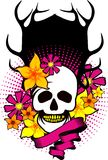 Skull in flowers Stock Images