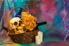 Skull with flowers and wine. Stock Images