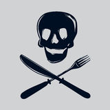 Skull with fork and knife. Skull silhouette with fork and knife. Unhealthy food metaphor. Isolated vector sign Royalty Free Stock Photography