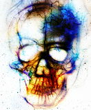 Skull and fractal effect. Color abstract background, computer collage. Royalty Free Stock Photos